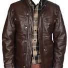 Brown Cow Leather Moto Motorcycle Biker Racer Jacket Mens XS - 6XL