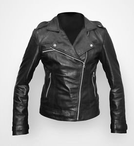 Woman Motorcycle Soft Leather Jacket Black Outerwear Coat Size