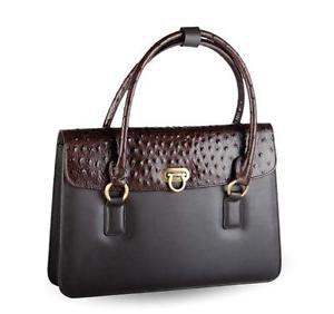 Leather Medium Satchel Handbag Ladies Leather Purse Black And Brown