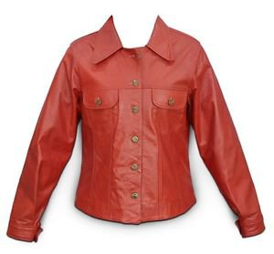 Ladies Red Leather Jacket XS-4XL