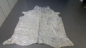 Silver Cowhide Rug Brazilian Cow Hide Rug Silver On White 994