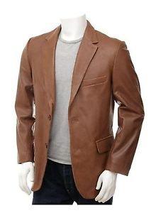 Gentleman Tan Leather Blazer Essential Wardrobe Leather Coat Notch Collar XS-6XL