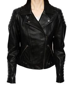 Ladies Real Leather Jacket Short Fitted Biker Design Black Quilted Long Sleeves