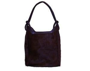Genuine Brown Cowhide Skin Woman Natural Cow Hide Shopper Purse Slouch Hand Bag