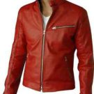 Bomber Red Leather Motorcycle Biker Racer Slim Fit Jacket