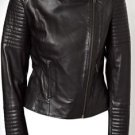 Ladies Leather Biker Motorcycle Jacket With Quilted Long Sleeve Crossbody Zip