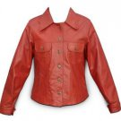 Slim Fit Ladies Biker Jacket Red Leather Women Motorcycle Leather Upper Coat NEW