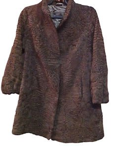 Dark Brown Karakul Coat Lamb Fur Karakul Leather Jacket