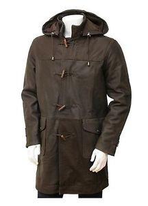 Men Duffle Coat Brown Leather Men's Duffel Winter Jacket Long Leather Coat Man