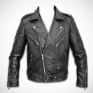 Slim Fit Biker Motorcycle Zipper Soft Bomber Leather Jacket Adjustable Waist