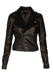 Ladies Classic Biker Cruiser Real Cow Skin Leather Jacket Sheep Skin Fur Collar