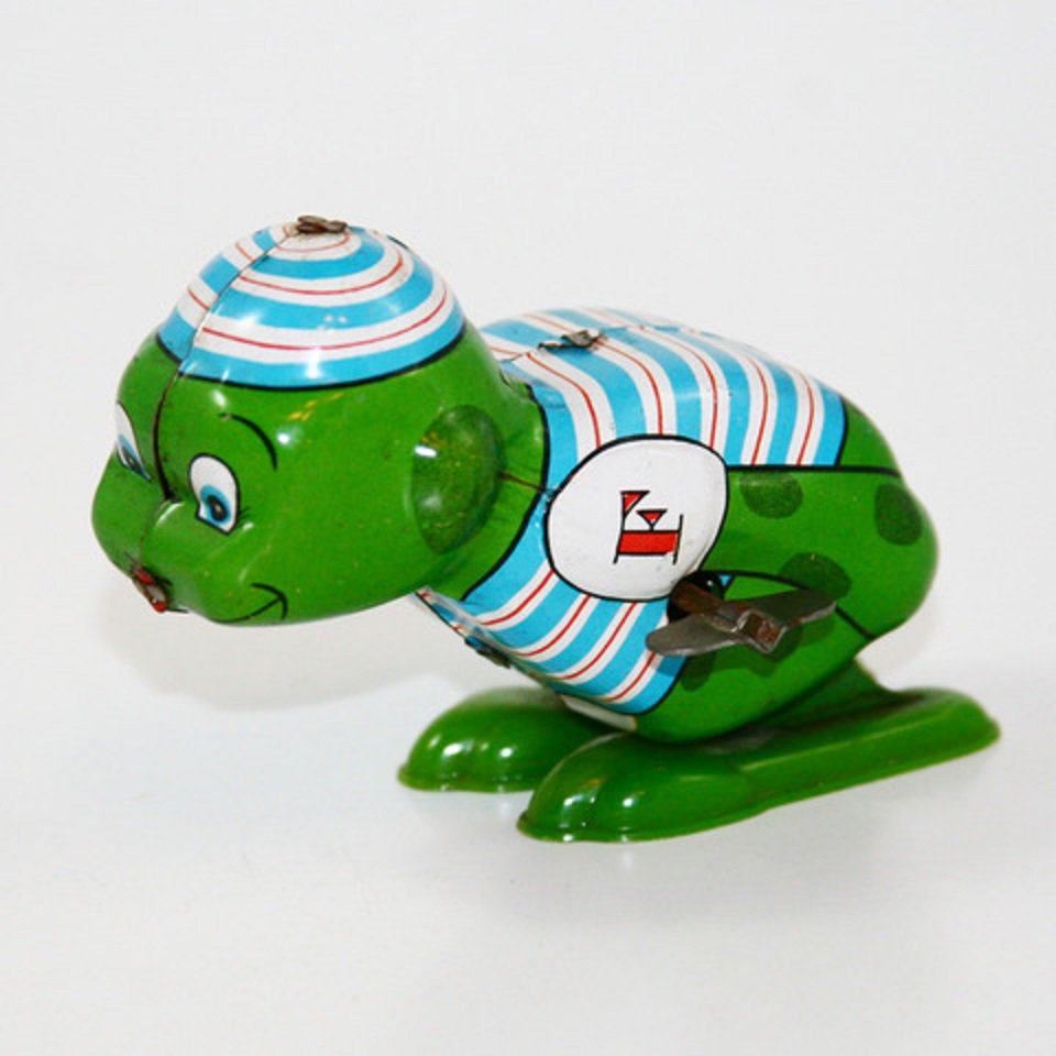 Vintage 1960's Tin Wind Up Hopping Frog, Yone Toy~Japan