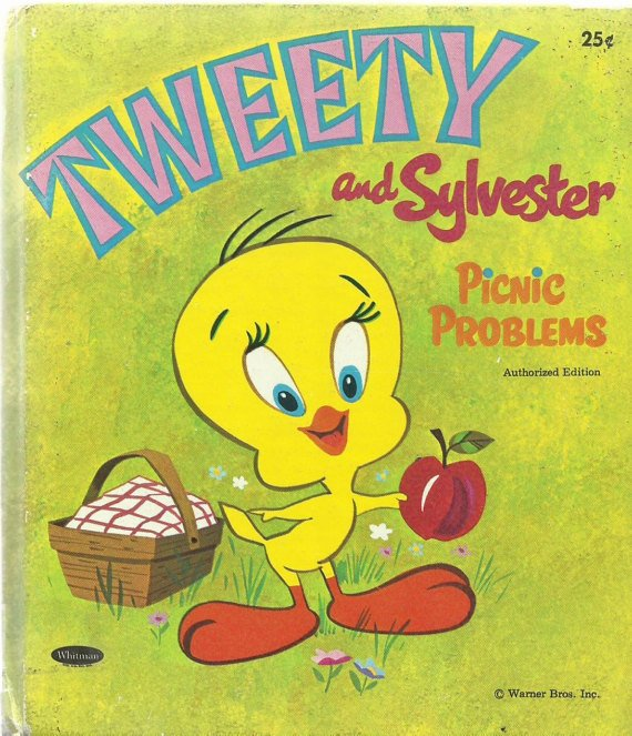 Vintage Children's Whitman Tell-A-Tale Book - TWEETY AND SYLVESTER PICNIC PROBLEMS 1970