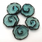 Lampwork Turquoise Flower Bead (5) SRA - DIY Jewelry - Spiral Beads - Floral Beads - Teal Beads