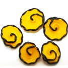 Lampwork Yellow Flower Bead (5) SRA - DIY Jewelry - Spiral Beads - Floral Beads - Yellow Beads