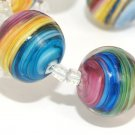 Lampwork Round Bead Colorful vortex (6) SRA - DIY Jewelry - Striped Beads - Jewelry Supplies