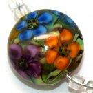 Lampwork Button Garden Beads (5) SRA - DIY Jewelry - Floral Beads - Flower Beads - Handmade Beads