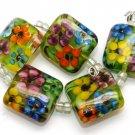 Lampwork Pillow Garden Beads (5) SRA - DIY Jewelry - Flower Beads - Floral Beads - Handmade Beads
