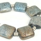 Lampwork Pillow Silver Powder Beads (6) SRA - DIY Jewelry - Jewelry Supplies - Teal Beads