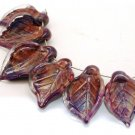 Lampwork Multicolor Leaf Beads (6) SRA - DIY Jewelry - Jewelry Supplies - Floral Beads