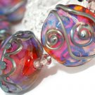 Lampwork Colorful Button Beads (6) - DIY Jewelry - Jewelry Supplies - Decorated Beads