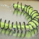 Lampwork Green and Silver Spiral Beads (5) SRA - DIY Jewelry - Jewelry Supplies - Handmade Beads