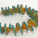 Lampwork Green and Yellow Spiral Beads (5) SRA - DIY Jewelry - Jewelry Supplies - Handmade Beads