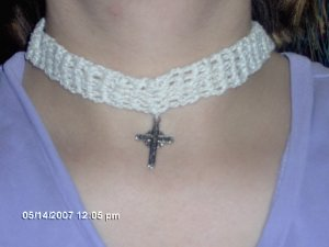 Antique White Crochet Choker with Cross