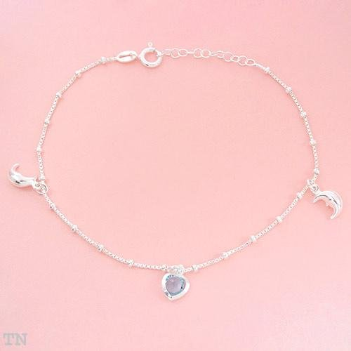 Anklet with Genuine Crystal in Sterling Silver