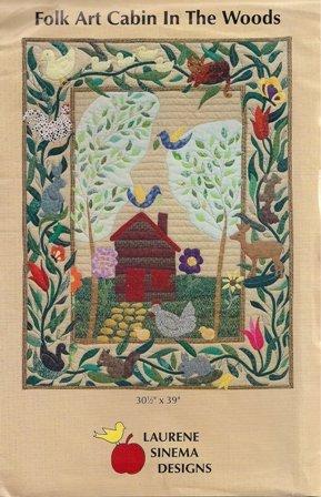 Folk Art Cabin in the Woods by Laurene Sinema Designs