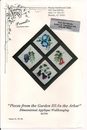 Pieces from the Garden III: In the Arbor Dimensional Applique Wallhanging