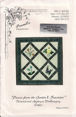 Pieces from the Garden I: Favorites Dimensional Applique Wallhanging