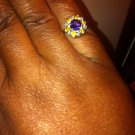 3.27ct Natural 14kt Solid White Gold Blue Amethyst & Sapphire Diamond Cluster Ring