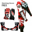 Yamaha YZF Leather Biker's Racing Suit: Jacket, Trouser with Free Shoes & Gloves