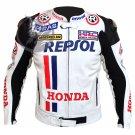 Honda Repsol White Motorbike Racing Leather Jacket with CE Armor | Custom Made