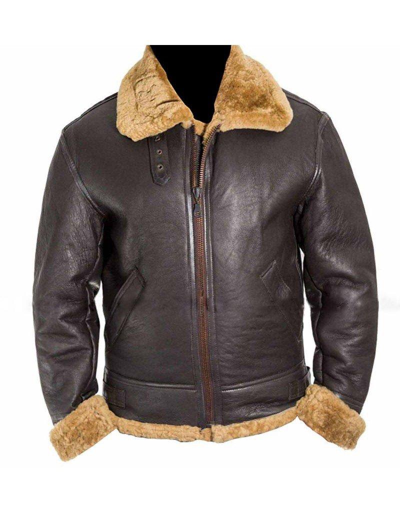Aviator RAF B3 Bomber Ginger Shearling Sheepskin   Flight Sheepskin Shearling Leather Jacket