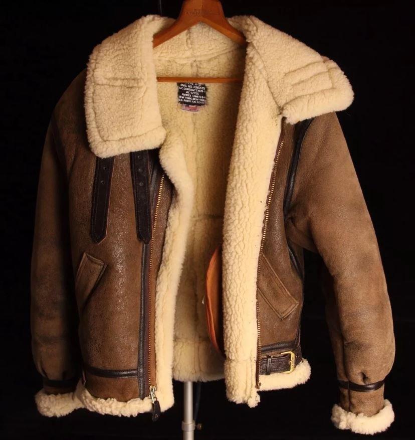 Aviator B3 Bomber Hooded Sheepskin Flight  Coastal Command Flying RAF Shearling Leather Jacket