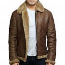 RAF Aviator Sheepskin Leather with Shearling Bomber Flying Faux Fur Brown Leather Jacket for Men