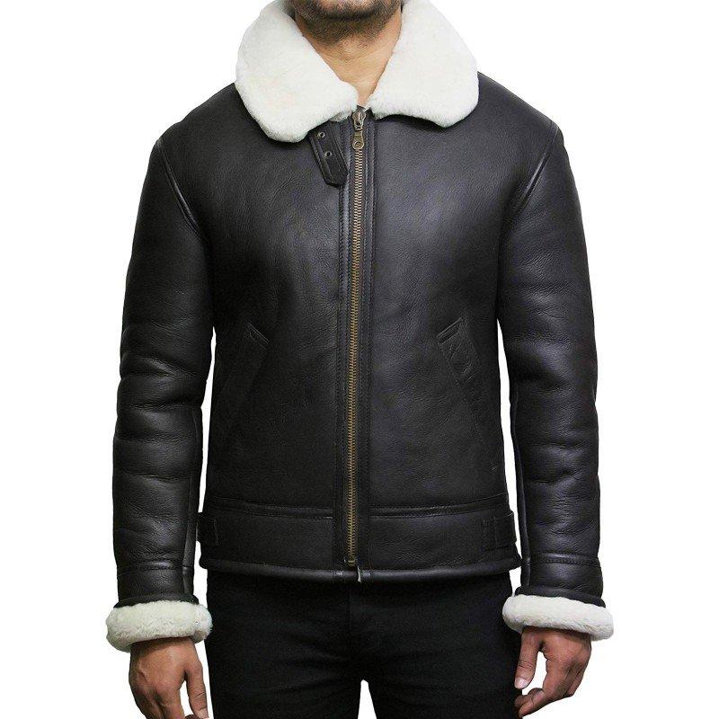 Aviator RAF B3 Bomber Shearling Sheepskin Flight Flying Faux Fur Leather Jacket
