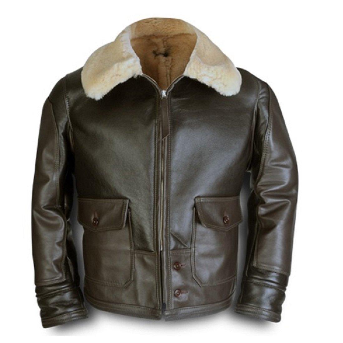 ANJ 4 Bomber Aviator A2 Pilot Police Sheepskin Fur Collar Aviation Fighter RAF B3 Leather Jacket