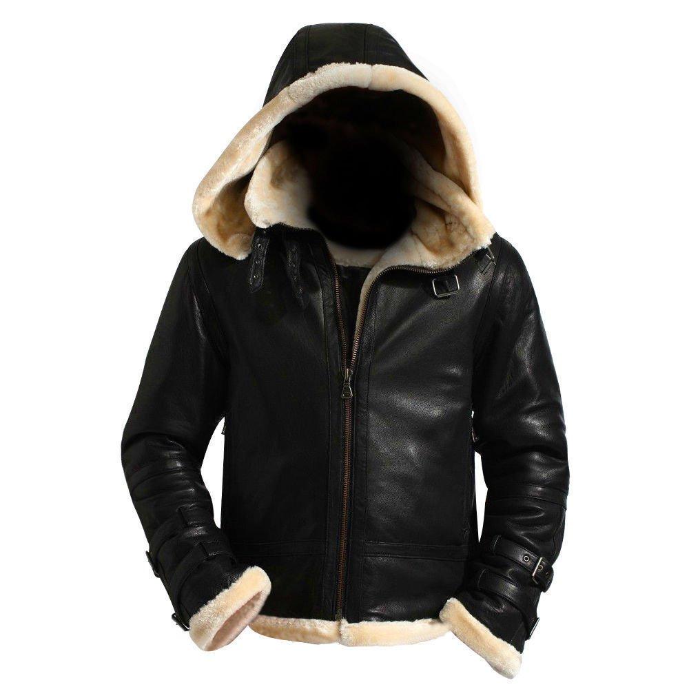 B3 Bomber Hood Black Shearling   Flight Sheepskin Stylish Hooded Aviator Sheepskin Leather Jacket