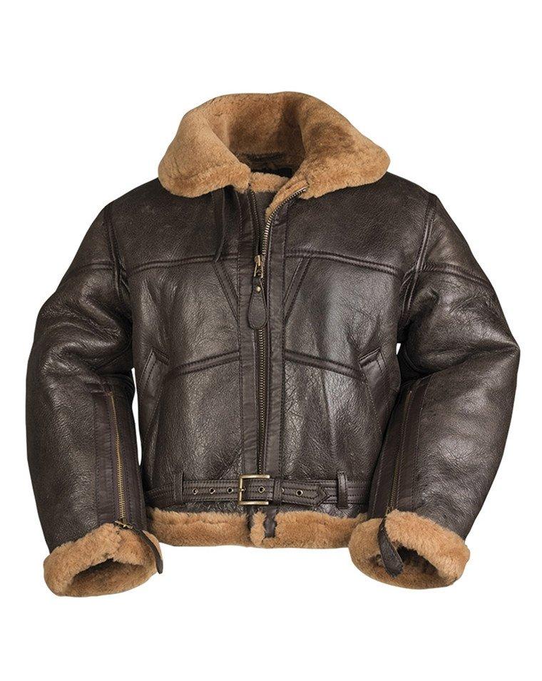 British Bomber RAF Sheepskin Leather B3 Bomber Jacket Fur Brown Leather Winter Jacket