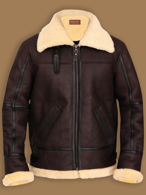 B3 Bomber Aviator Leather Shearling Coat Sheepskin British Flight RAF Jacket | Custom Made
