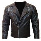 Brando Black Design Motorcycle Biker Cowhide Leather MBF Arnold Terminator Style Jacket Custom Fit