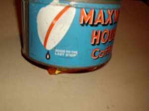 SMALL MAXWELL HOUSE COFFEE  CAN WITH OLD CUP ON IT