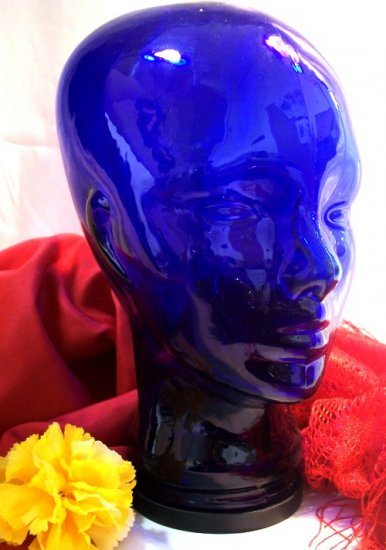 Cobalt Blue Glass Mannequin Head MAN Display Hat Wig - 16672