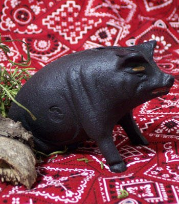 Cast Iron Black Piggy Bank Pig Figurine - 04635