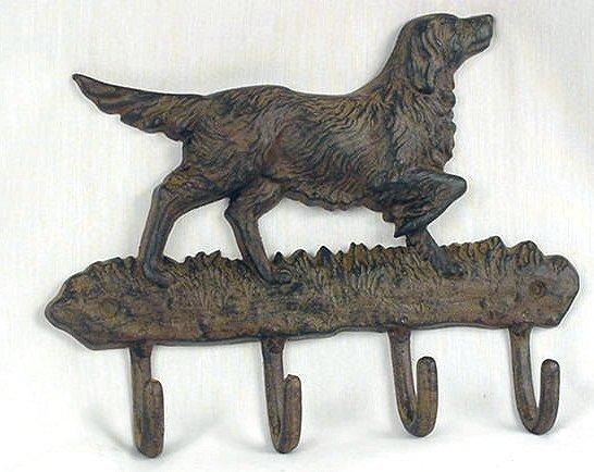 Hunting Dog Pointer Cast Iron Key Rack Hooks - 01539