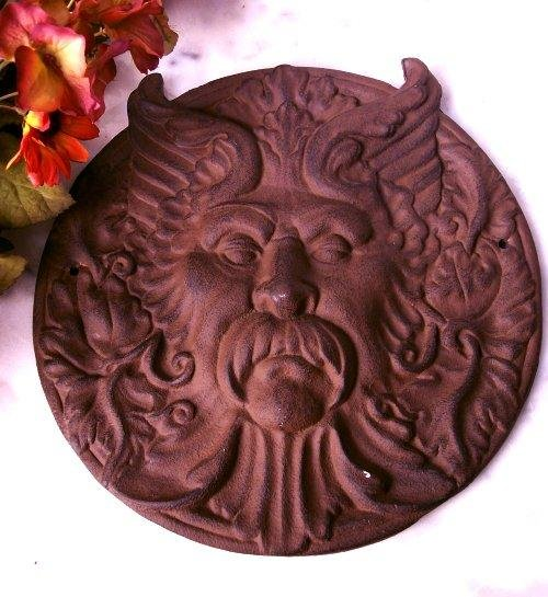 Cast Iron Man Pagan Devil Face Wall Plaque Round Rust - 05654