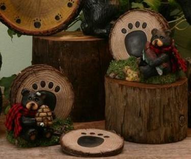 Set/2 Bear Rustic Coaster Holder for Hunting Lodge or Cabin - 13026